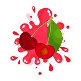 Ripe cherries juice splashing, colorful fresh juicy berries stock illustration