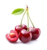 Ripe cherries with leaf Royalty Free Stock Images