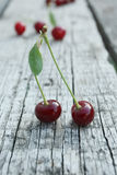 Ripe cherries with leaves Royalty Free Stock Image