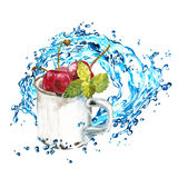 Ripe cherries in a metal mug with water splash. Watercolor illustration on white background. Ripe cherries in a metal mug with water splash. Watercolor Royalty Free Stock Photo