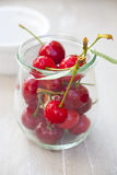 Ripe Cherries in a preserving jar Stock Photos