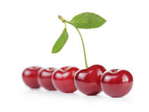 Ripe cherries in a row one with stem and leaf Stock Images