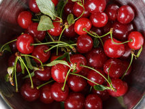 Ripe cherries with stem and leaves Royalty Free Stock Photos
