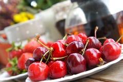 Ripe cherries and strawberries Royalty Free Stock Photo