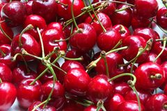 Ripe cherries on the table Stock Image