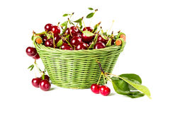 Ripe cherries in wicker basket Royalty Free Stock Images