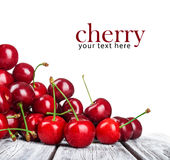 Ripe cherries on a wooden table. Stock Photography