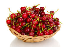 Ripe cherry berries in basket Stock Photo