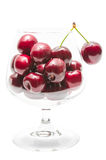 Ripe cherry big berries in wineglass Royalty Free Stock Photos
