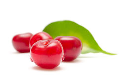 Ripe cherry fruit. Red ripe cherries fruit with green leaf on white background stock images