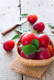 Ripe cherry-plums in the basket Royalty Free Stock Photo