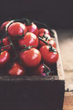 Ripe cherry tomatoes in rustic wooden crate Stock Images
