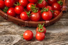 Ripe cherry tomatoes on wood Royalty Free Stock Image