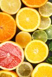 Ripe citrus fruits as background, closeup stock image
