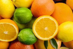 Ripe citrus fruits as background, closeup royalty free stock image