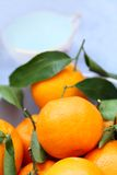 Ripe clementines on the blue, pastel plate Stock Photo