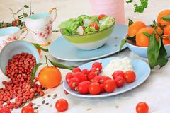 Ripe Clementines On The Blue, Pastel Plate Stock Image