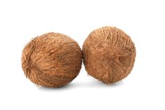 Ripe coconuts on   background. Ripe coconuts on white background Stock Image
