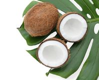 Ripe coconuts with leaf. On white background Stock Image