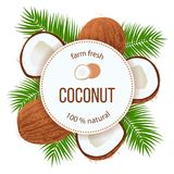 Ripe coconuts and palm leaves around circle badge with text farm fresh 100 percent natural. Concept for logo, tag, banner, advertising, prints, label, poster royalty free illustration
