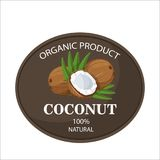 Ripe coconuts and palm leaves around circle badge with text farm fresh 100 percent natural. Ripe coconuts and leaves with farm text label. The concept of the Stock Illustration