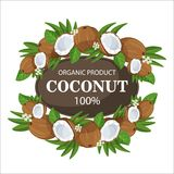Ripe coconuts and palm leaves around circle badge with text farm fresh 100 percent natural. Ripe coconuts and palm leaves around the circle icon with a fresh stock illustration