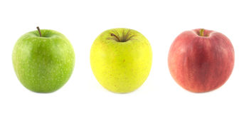 Ripe color apples isolated closeup Royalty Free Stock Photography