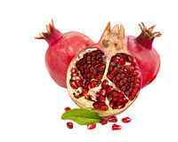 Ripe colorful pomegranate fruit on white background Royalty Free Stock Photography