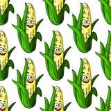 Ripe corn seamless pattern Stock Photo