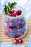 Ripe cranberries in jar Royalty Free Stock Images