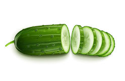 Ripe cucumber cut segment Royalty Free Stock Image