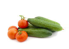 Ripe cucumbers and tomatoes Royalty Free Stock Photo