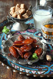 Ripe dates, green tea and fermented milk drink Stock Photos