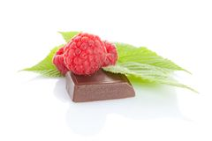 Ripe delicious raspberry with chocolate Stock Photos