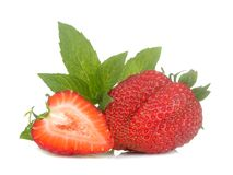 Ripe, delicious strawberries. red strawberry and mint leaf on white isolated background stock photos