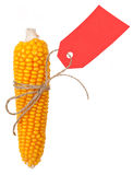 Ripe Ear Of Corn With A Red Price Tag Stock Photos