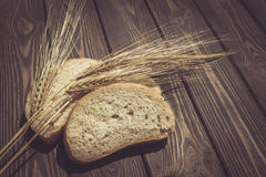 Ripe ears of rye and organic bread Royalty Free Stock Image