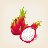 Ripe exotic dragon fruit with slice. Stock Images
