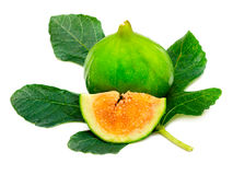Ripe fig fruit with leaf Royalty Free Stock Image