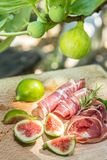 Ripe fig fruits and bacon or prosciutto. Stock Images