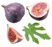 Ripe fig fruits and leaf. Clipping paths. Ripe fig fruits and leaf. File contains clipping paths Royalty Free Stock Photo