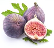 Ripe fig fruits on the white background. Stock Photos
