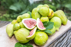 Ripe fig fruits on the wood. Stock Images