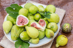 Ripe fig fruits on the wooden. Royalty Free Stock Image