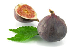 Ripe fig  on a white background Stock Photography