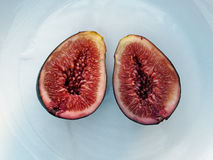 Ripe Fig on White Plate Stock Image