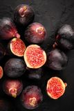 Figs on Black Slate. Ripe Figs on Black Slate background stock images
