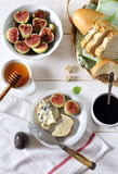 Ripe figs, blue cheese, baguette and coffee Stock Photo