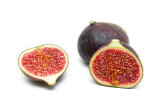 Ripe figs close-up isolated on white background Stock Images