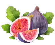 Ripe figs cut piece collection isolated on white background Royalty Free Stock Photography